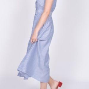 NWT Striped Midi Shirt Dress in Cornmeal Blue